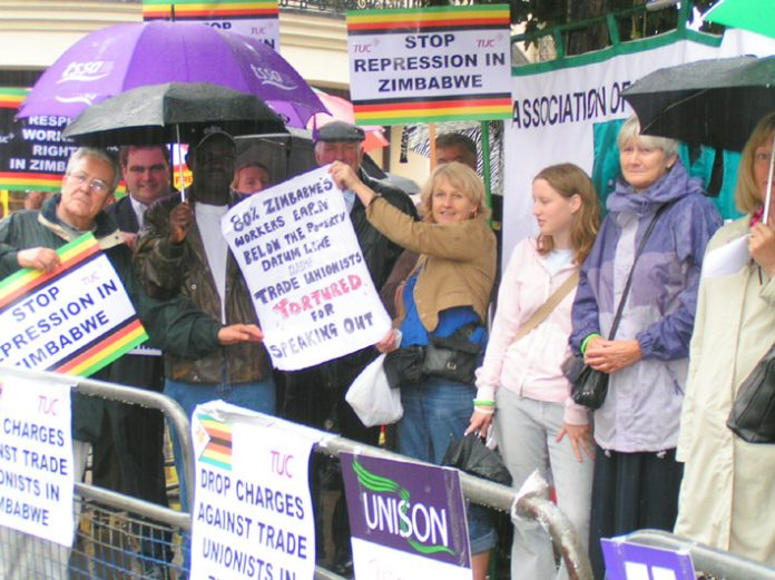 Trade unionists demonstrating outside the Zimbabwean embassy in London against the repression being meted out against the Zimbabwe Congress of Trade Unions