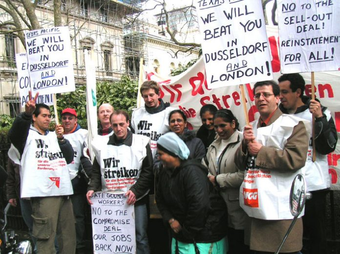 Gate Gourmet sacked workers from Heathrow and Gate Gourmet strikers from Dusseldorf picket theTexas Pacific office in central London on March 24th 2006