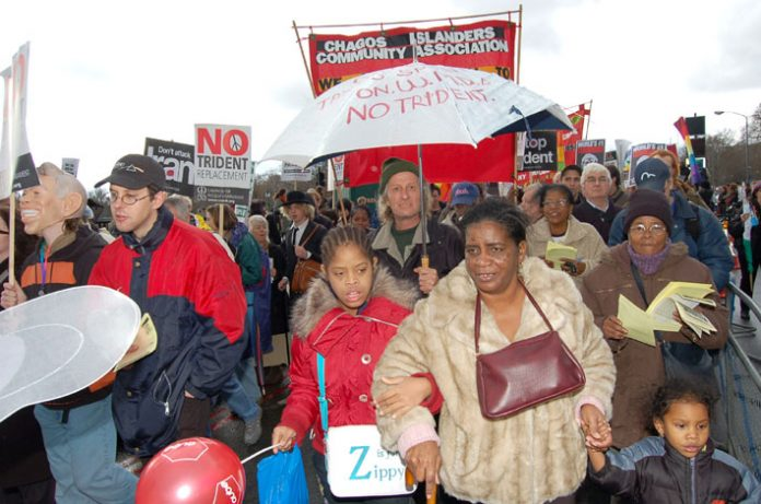 Chagos Islanders fighting to return to their homeland of Diego Garcia and expel the US Military base there, campaigning on the February 24 demonstration against  the Trident  replacement