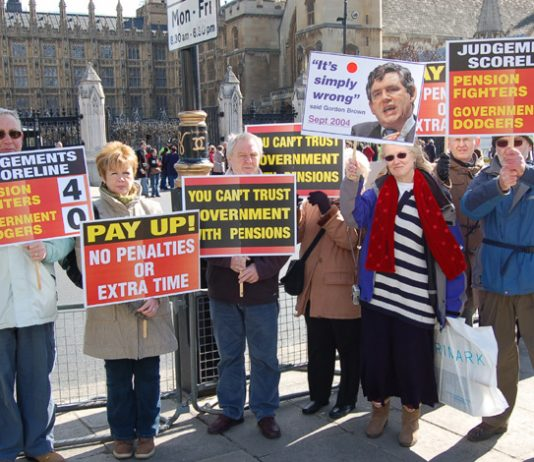 Workers who have lost their company pensions which were recommended by the government outside the House of Commons yesterday were demanding that Chancellor Brown pay up