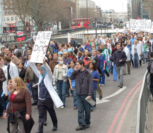 Thousands of junior doctors marched through London on March 17th demanding suitable jobs after their 8-10 years of training