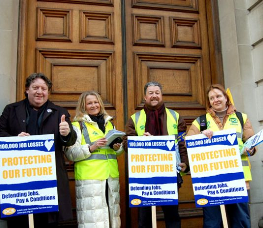 Civil servants on the picket line during their national strike on January 31