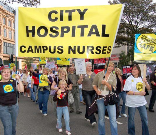 Nurses marching in Nottingham against cuts last September