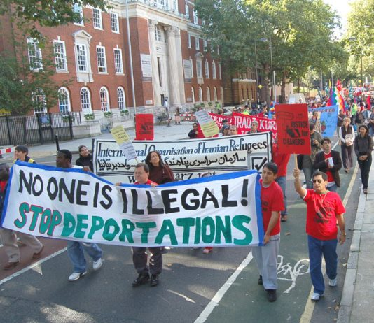 The front of last October's march in London for equal rights for migrant workers
