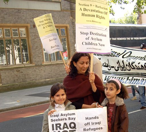 Iraqi family protest against the return of asylum seekers back to Iraq
