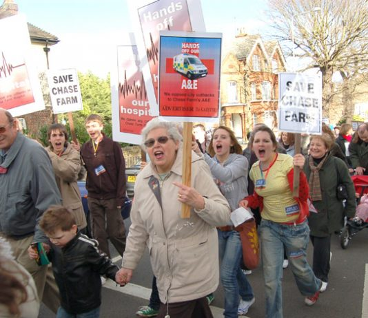 Workers and youth turned out in their thousands last month to march against the planned closure of Chase Farm Hospital, Enfield