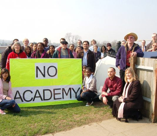 Teachers, pupils and parents are occupying Wembley partk Sports Ground to stop the building of a planned private City Academyround