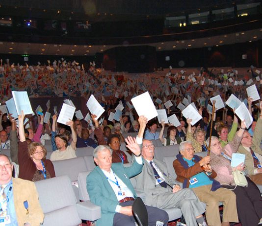 Delegates voting during the NUT conference in Harrogate at the weekend