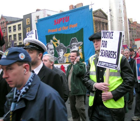 SIPTU members on the 100,000-strong march in Dublin in December 2005 in support of the Irish Ferries workers' occupation