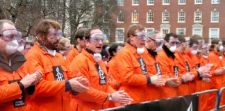 Protest outside the US embassy in London on January 11 – five years since the first prisoners were inarcerated at Guantanamo Bay