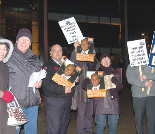 GMB protest outside the launch of the Private Equity Foundation on January 24