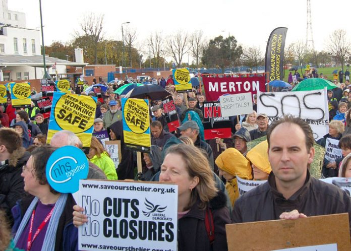 Staff, local residents and supporters rallying against trust plans to axe St Helier Hospital A&E department