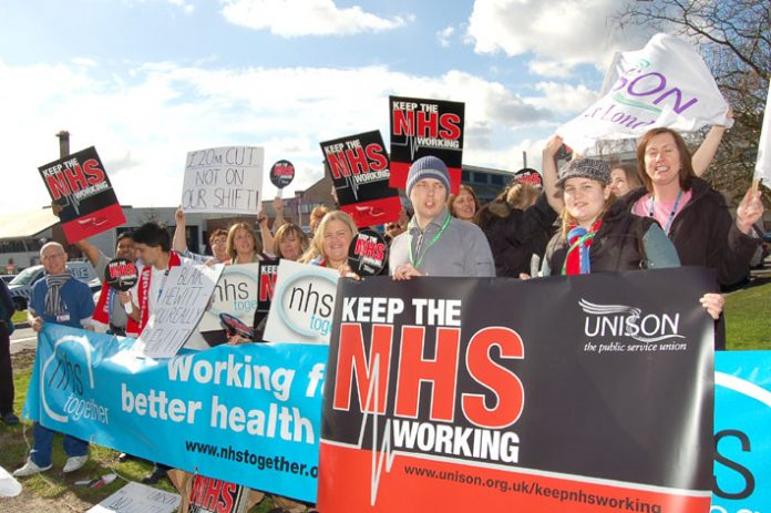 Kingston Hospital UNISON members demonstrate outside the hospital last month against cuts