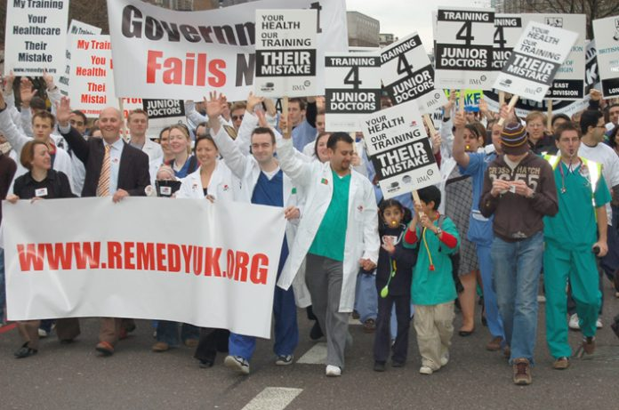 Junior doctors showing their determination to defend the National Health Service on their demonstration on March 17th