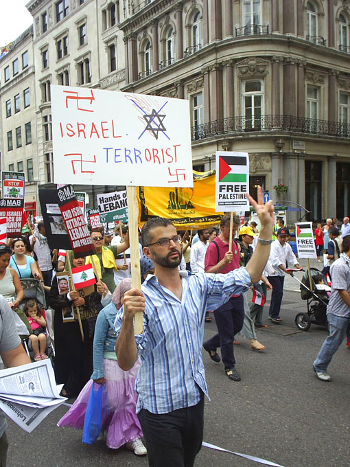 Demonstrators in London on July 22nd last year condemn the Israeli assault on Lebanon