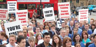 Angry junior doctors lobbying Parliament on Tuesday against the government's NHS 'reforms'