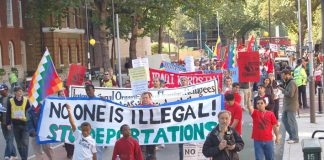 The front of last Octobers' march in London for equal rights for asylum seekers