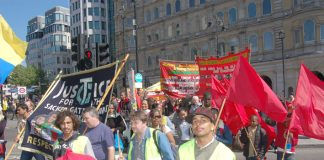 Gate Gourmet sacked workers and Chagos Islanders marching with the WRP contingent on yesterday's May Day march