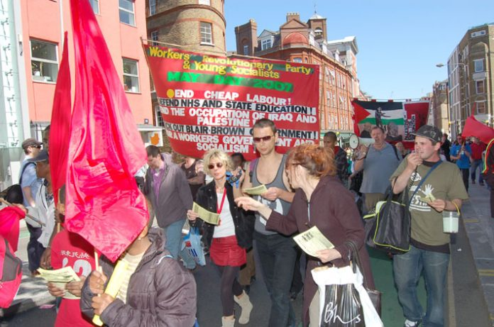 A section of the WRP and YS contingent on Tuesday's May Day demonstration in London