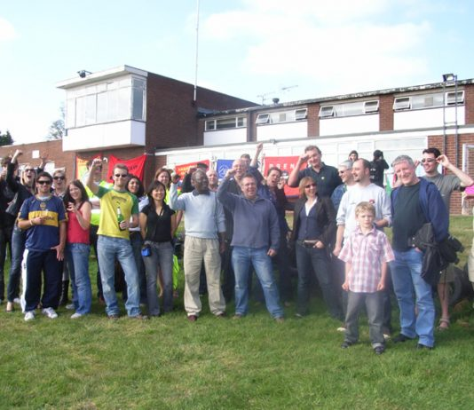 National Union of Teachers senior vice-president Bill Greenshields among this group of Wembley Park anti-academy occupiers and supporters at their fun day on Saturday