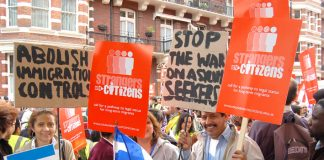 Demonstrators  in central London yesterday showed their support for the Strangers into Citizens campaign and condemned the government's draconian anti-immigration and asylum laws