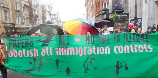 'Papers 4 All' demanded the scrapping of all racist immigration laws