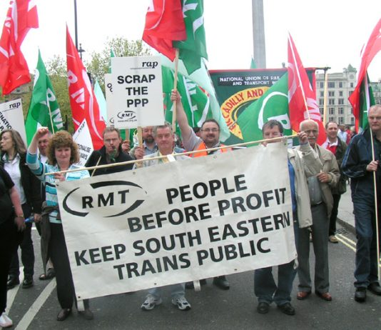 'Rail Against Privatisation' demonstration in London in April 2005