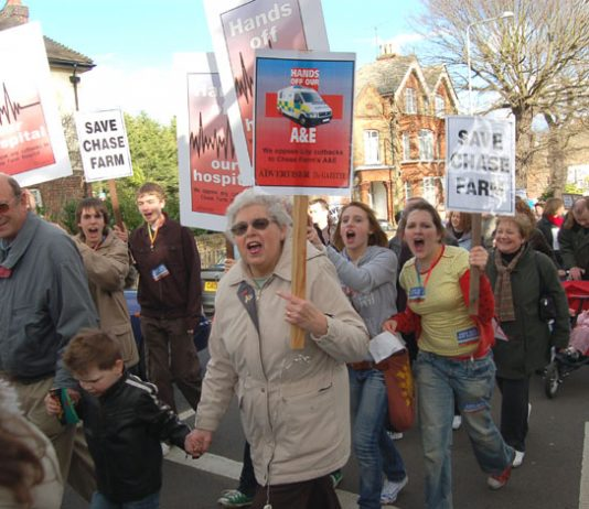 Young and old marching to save Chase Farm Hospital on the NHS Day of Action on March 3rd