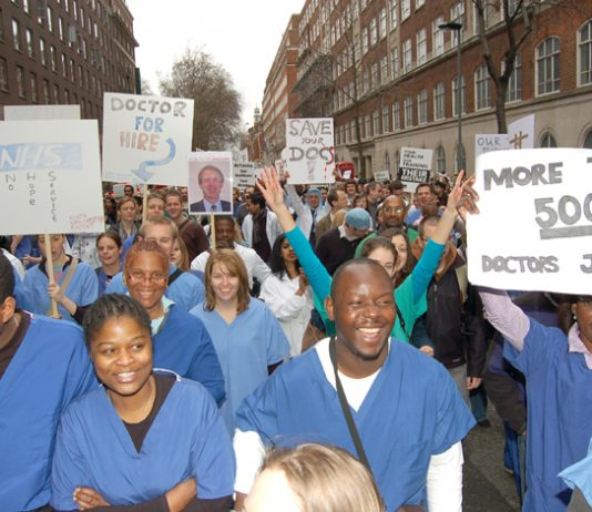 Junior doctors demonstrate against the government's NHS 'reforms'