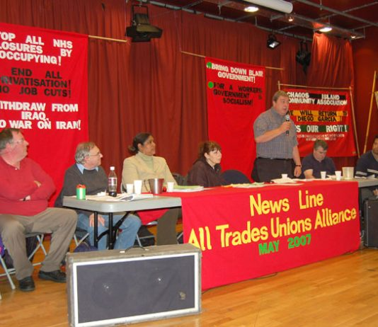 The platform at Sunday's News Line-All Trades Unions Alliance conference in London