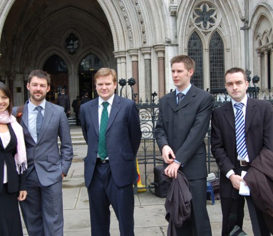 Junior doctors from Remedy UK outside the High Court yesterday before the start of their judicial review over 'MTAS'