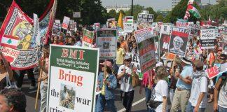 Mass demonstration in London last August  against the Israeli war on Lebanon
