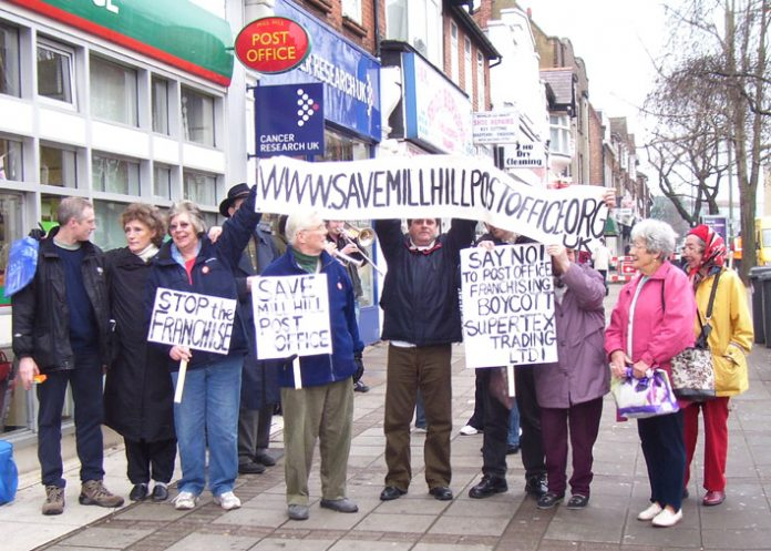 Postal workers and pensioners demonstrating together in Mill Hill