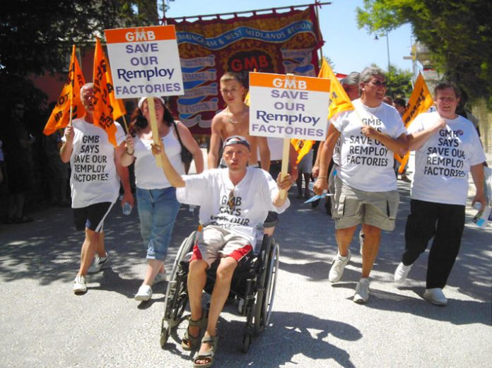 GMB Remploy workers contingent on the Tolpuddle Martyrs anniversary march on July 16th last year