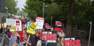 UNISON members among the 5,000-strong march in Nottingham last September against NHS cuts