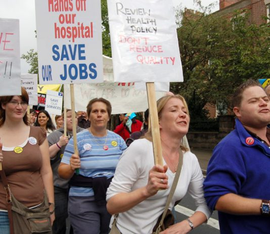 Marchers in Nottingham last September demanding no cuts to NHS services