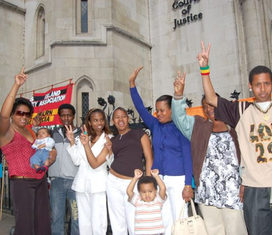 Chagos Islanders celebrating their victory outside the Court of Appeal yesterday