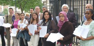 ESOL lecturers and students presented a 15,000-signature petition to Downing Street yesterday