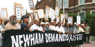 Newham residents demonstrate in the borough after a young postal worker was shot by police