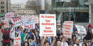 Junior doctors marching in London against the government's NHS 'reforms