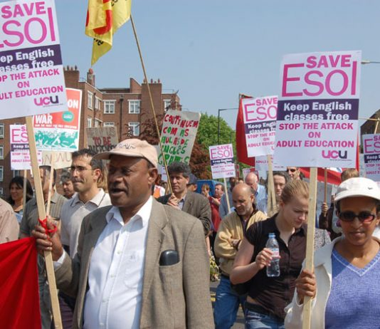 UCU members marching in north east London to stop the attack on adult education