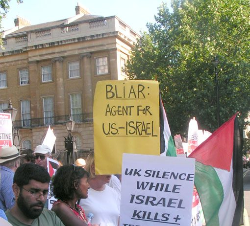 Protest outside Downing Street last July against Prime Minister Blair's support for the Israeli regime