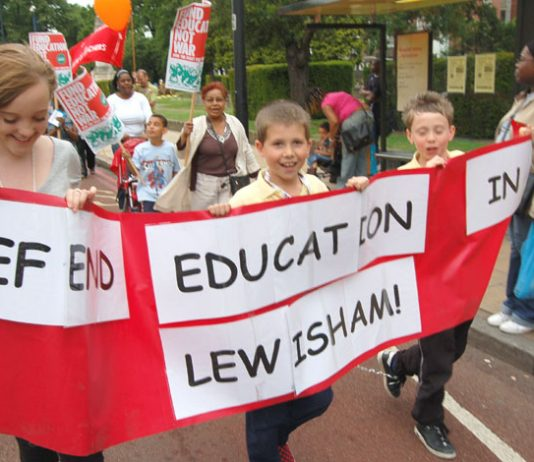 A recent defend education march in Lewisham – parents will be shocked to find out that tens of thousands of children are being fingerprinted at school