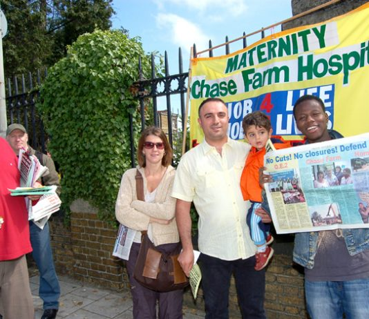 Part of a mass picket of Chase Farm Hospital on Tuesday to prevent its A&E and Maternity departments being closed