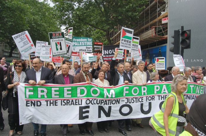 The front of Saturday's 20,000-strong march in London demanding an end to the Israeli occupation of Palestine
