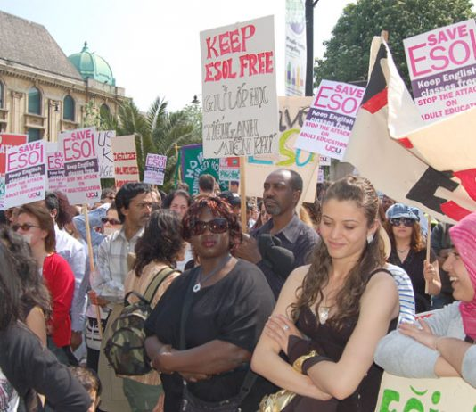 Hackney Community College lecturers and students at the demonstration to defend ESOL courses on April 28th