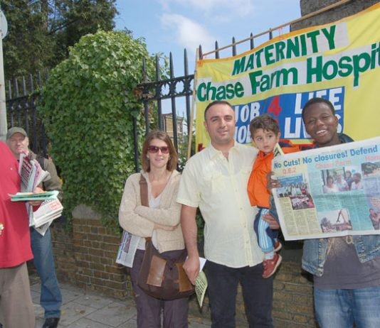 A section of the mass picket at Chase Farm Hospital organised by the North East London Council of Action on June 5th