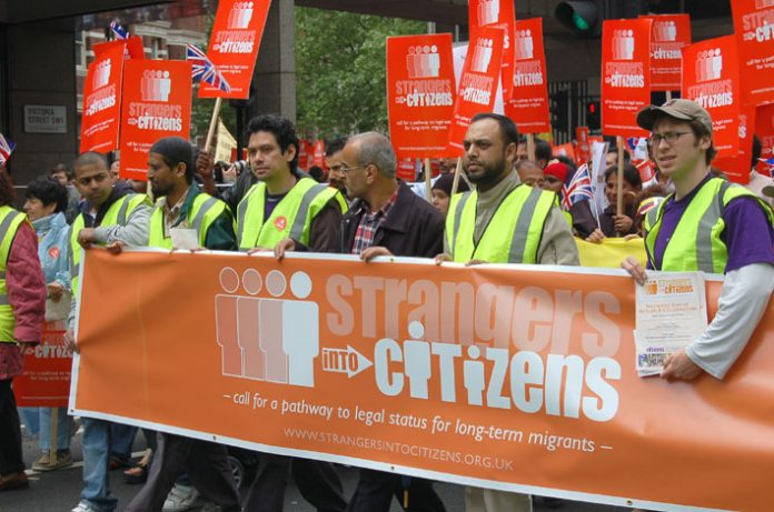 Marchers on May 6th demanding British citizenship for all migrant workers