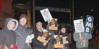 GMB protest outside a dinner to launch the Private Equity Foundation 'charity' last January