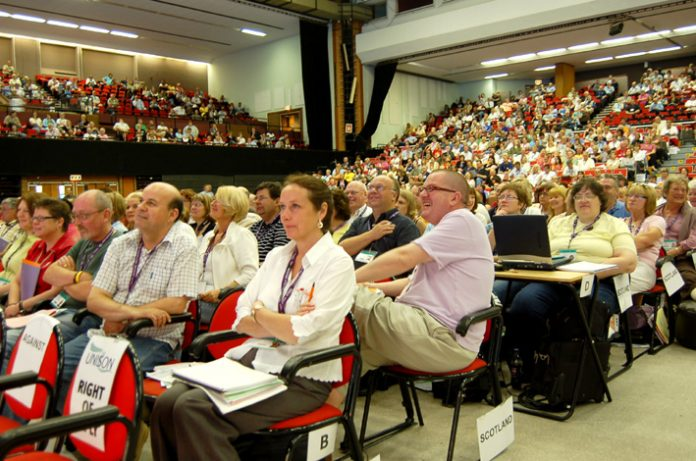 Delegates at the UNISON conference in Brighton yesterday